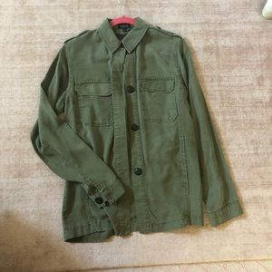 TopShop Army Green Cargo Button Up Long Sleeve SZ4